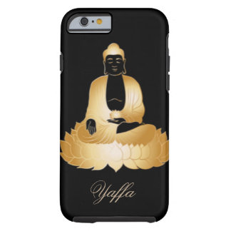 Gold Buddha & Lotus Flowers Abstract Design Tough iPhone 6 Case