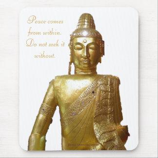 Gold Buddha Motivational Peace Quotation Mouse Pad