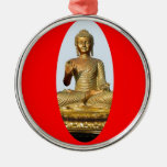 Gold Buddha & Sacred Red by SHARLES Round Metal Christmas Ornament