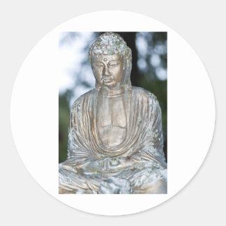 Gold Buddha Statue Classic Round Sticker