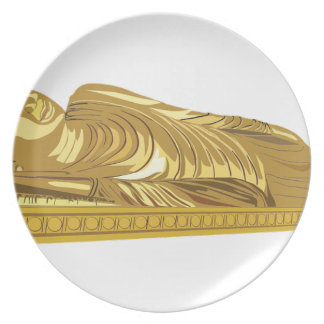 Gold Buddha Statue Laying Down Plate