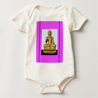 Gold Buddha Statue on Violet Baby Bodysuit