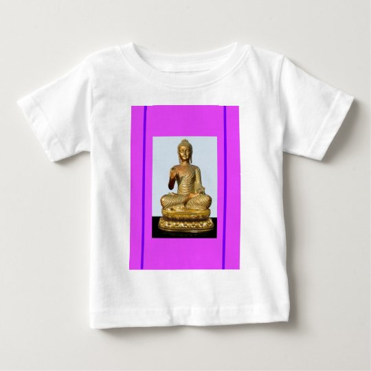 Gold Buddha Statue on Violet Baby T-Shirt