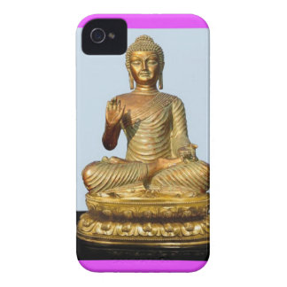Gold Buddha Statue on Violet iPhone 4 Cover