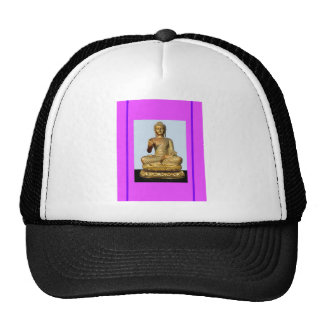 Gold Buddha Statue on Violet Hat