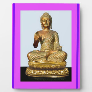 Gold Buddha Statue on Violet Photo Plaque