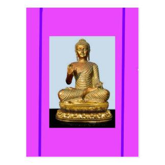 Gold Buddha Statue on Violet Postcard
