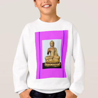 Gold Buddha Statue on Violet Sweatshirt