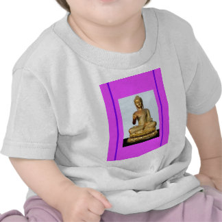 Gold Buddha Statue on Violet T Shirt
