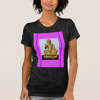 Gold Buddha Statue on Violet Shirts