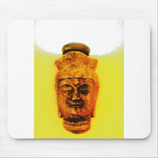 Gold Buddha with light above head Mouse Pad