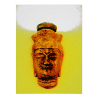 Gold Buddha with light above head Poster