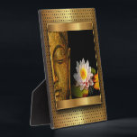 """Gold Buddha With Lotus Flower Plaque<br><div class=""""desc"""">This beautiful buddha design is eye-catching and inspiring. If you like this one,  check out the Personal Effects marketplace for even more great chakra designs!</div>"""