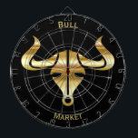"""Gold Bull Bull Market Dartboard With Darts<br><div class=""""desc"""">Gold metallic look bull head with horns set on solid black Bull Market in gold colored uppercase text can be personalized to your name or message using the product templates</div>"""