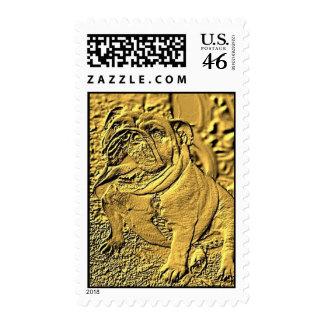 Gold .,bulldog ,stamp