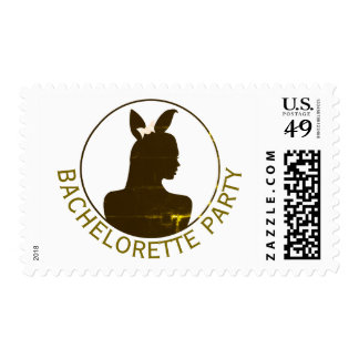 Gold Bunny Girl Bachelorette Party Postage