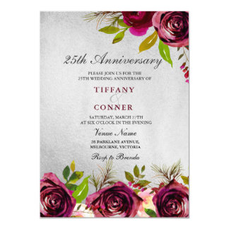 Gold Burgundy 25th Wedding Anniversary invite