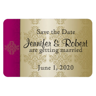 Gold Burgundy Damask Posh Wedding Save the Date Magnet