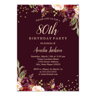 80th birthday invitations zazzle
