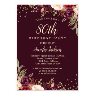 80th birthday invitations zazzle gold burgundy floral sparkle 80th birthday party invitation filmwisefo