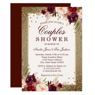 Gold Burgundy floral Sparkle Couples Shower Invitation