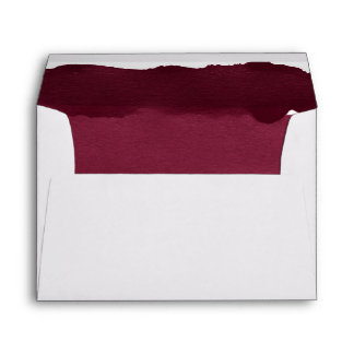 Gold burgundy watercolor ombre stripes envelope