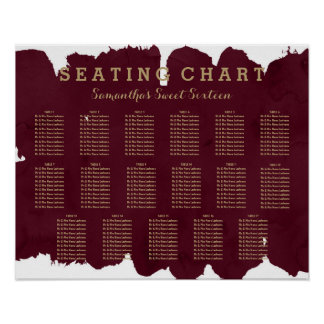 Gold burgundy watercolor Sweet 16 seating Poster