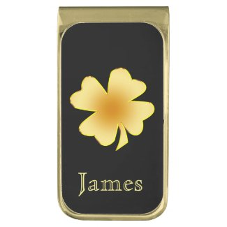 Gold Burn Shamrock Personalized Gold Finish Money Clip