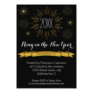 Gold Bursts New Year's Eve Party Invitation