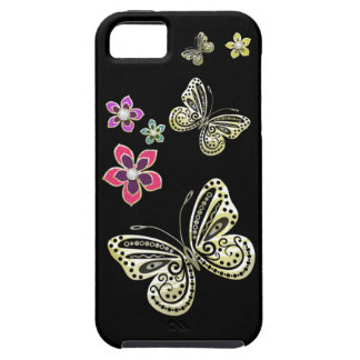 Gold Butterflies and Gem Flowers Case for iPhone 5 iPhone 5 Cases