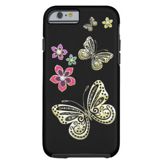 Gold Butterflies and Gem Flowers Case for iPhone 6 Tough iPhone 6 Case