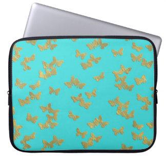 Gold butterflies on aqua backround laptop sleeve