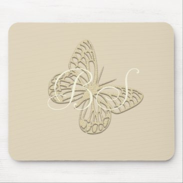 Beach Themed Gold Butterfly Add Initials Mousepad