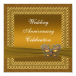 Gold Butterfly Anniversary Party Invitation