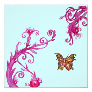 GOLD BUTTERFLY , bright pink blue Card