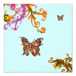 GOLD BUTTERFLY , bright pink yellow blue Custom Announcements