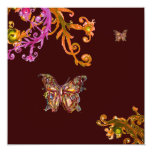 GOLD BUTTERFLY , bright pink yellow brown Personalized Invite