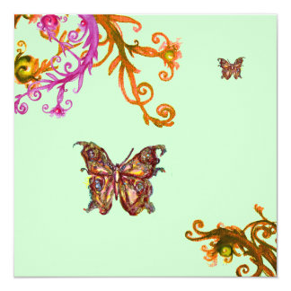 GOLD BUTTERFLY , bright pink yellow green Personalized Invite