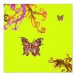 GOLD BUTTERFLY , bright pink yellow green Custom Announcement