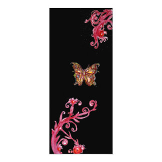 GOLD BUTTERFLY , bright red black Card