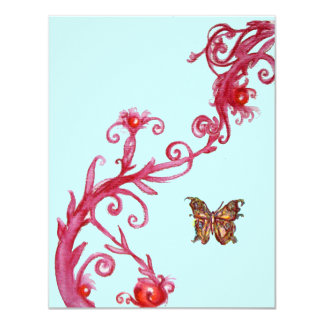 GOLD BUTTERFLY , bright red blue Card