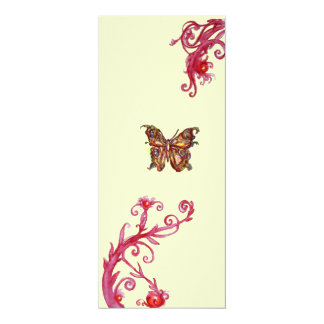 GOLD BUTTERFLY , bright red cream Card