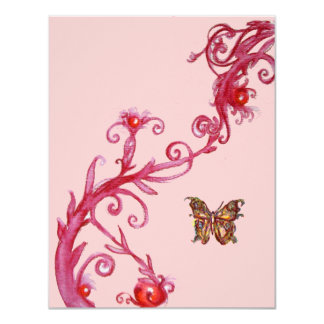 GOLD BUTTERFLY , bright red pink Card