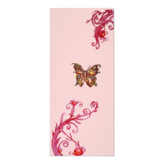 GOLD BUTTERFLY , bright red pink flourishes Card