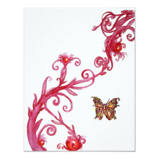 GOLD BUTTERFLY , bright red white Invitations