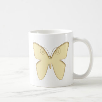 Gold Butterfly Classic White Coffee Mug