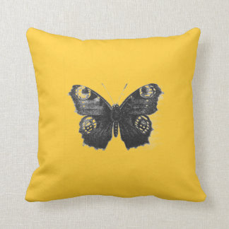 Gold Butterfly Demon Face Wing Throw Pillow