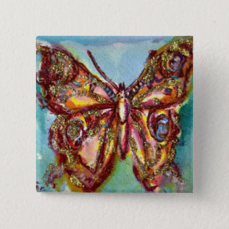 GOLD BUTTERFLY IN BLUE BUTTON