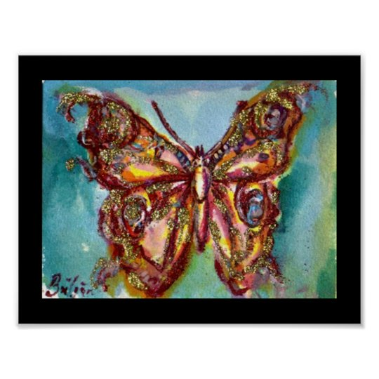 GOLD BUTTERFLY IN BLUE POSTER