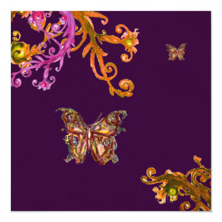GOLD BUTTERFLY IN PURPLE ,Elegant Classy Wedding 5.25x5.25 Square Paper Invitation Card